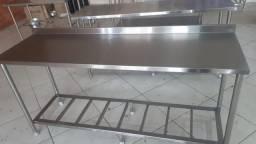 Mesa Bancada Manipulação Cozinha Industrial 1,80x0,55 100% Inox