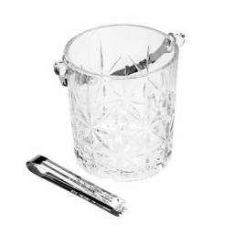 Balde Para Gelo de Vidro Bon Gourmet 1L Alça e Pegador Aço Novo Lacrado!