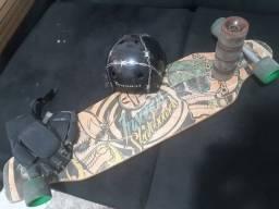 Long board donwhill skate capacete luva 2 jogos de rodinhas
