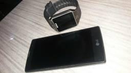 Relogio celular e um aparelho LG plus 250,00