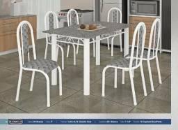 Conjunto de mesa tubular 6 cadeiras N527