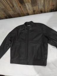 Jaqueta de couro 100% legítimo, preta, nova, esportiva, vários zíperes, tamanho GG