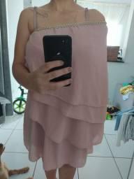 Vestido de festa rosê G - 50,00