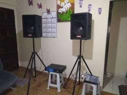 Amplificador + Caixas de Som + Mesa 6 Canais