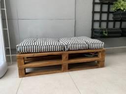 Puf Pallet futon listrado conjunto 1,20 x60 e 60x60