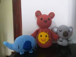 Urso, elefante e Koala Amigurumi