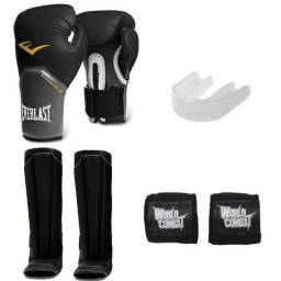 Kit Muay Thai Luva Everlast + Bucal  + Bandagem + Caneleira