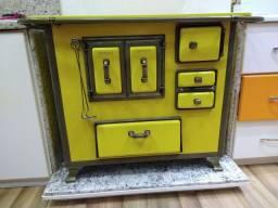 Fogão a Lenha N2Gab Renaissance Amarelo com Tampa Aceito Proposta
