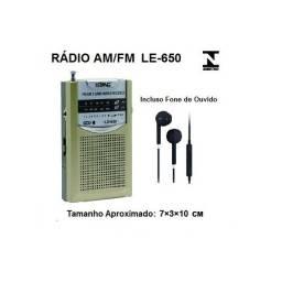 Mini Rádio Portátil AM/FM c/ Fone de Ouvido Lelong-650 Original