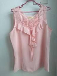 Linda blusa, tecido molinho, rosa bebê, Tam G R$17
