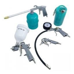 Kit Pintura Pistola Tanque Alto para Compressor com 5 Peças