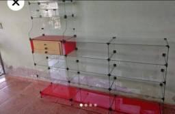 Prateleira, vitrine, balcão de vidro, baleiro,