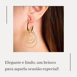 Semi jóias: Brinco  argolas. Luxo