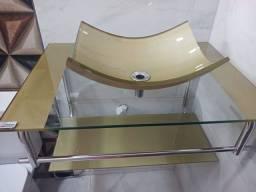 Lavatório de vidro com detalhes dourado novo