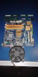 Kit Processador Intel Core 2 Quad + Placa Mãe Gigabyte + 8Gb Memória Ram DDR2 + Cooler