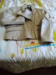 Jaqueta de couro legítimo Marfim  , Tam  G