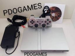 PDOGAMES Bauru, Playstation 2 slim prata com 1 controle original prata, até 12x sem juros