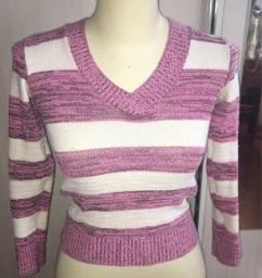 Blusão fino listrado rosa e branco lindo