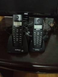 Telefone sem fio com 2 ramais