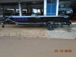 Barco de alumínio Buricá 550 + Reboque + motor de popa Mercury 60 HP Novo - 2018 - 2018