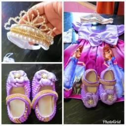 Vestido Temático princesa Sophia Look completo 200,00