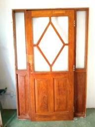 Porta antiga em angelim pedra c/ vidros jateados, marcos c/vidros, vistas e dobradiças aço