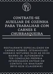 Contrata-se auxiliar de Cozinha/Churrasqueiro