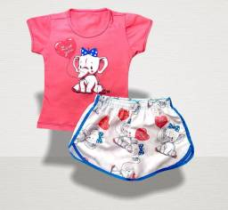 10 conjuntos tactel feminino infantil para crianças de 1 a 6 anos