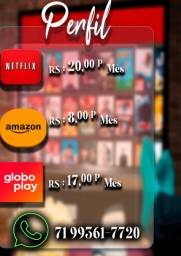 Perfil netflix, globo play, prime video Leia