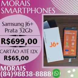 OFERTA - SAMSUNG J6 PLUS 32GB (PRATA) SEMI-NOVO COM NOTA FISCAL