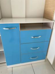 Cômoda azul nova direto de fábrica (montada)