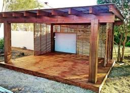 Deck Pergolado madeiras pinus tratado em autoclave