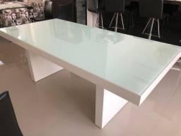 Mesa branca laqueada 8 lugares tok&stok