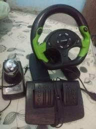 VOLANTE COM MACHA FREIO E ACELERADOR FUNCIONANDO PS2/PC