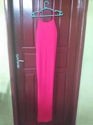 Vestido de festa rosa-longo