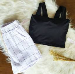 Cropped reto // short branco