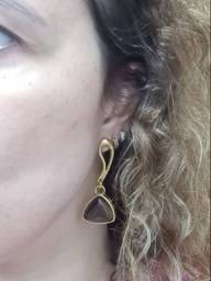 Semi joia - brinco dourado com pedra brasileira #danabrinco1