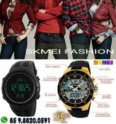 Relógio Skmei Digital e Analógico Dual Display Black