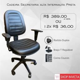 Cadeira Secretaria alta Internauta Preta Base Nylon / Nova / NFE