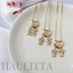 Brincos e colares semi-jóias com garantia