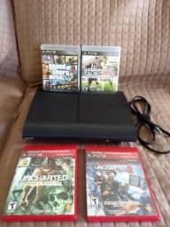 Playstation 3 com 4 jogos