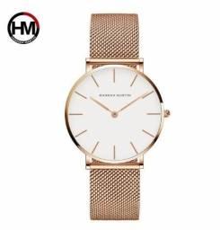 Relógio Feminino Hannah Martin Pulseira Aço Inox Rose Gold