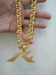 cc4b506fa3d Cordão friso + pingente ( Banhado a ouro)