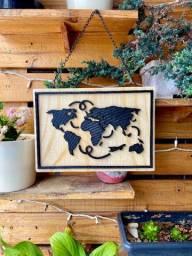 Placa Decor Mapa Mundi - Viajantes