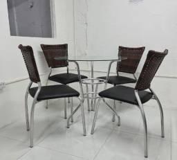 Conjunto de mesa e cadeira de aluminio