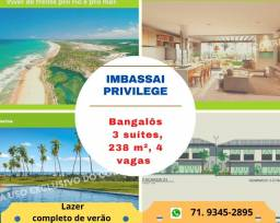 Imbassai Privillege, bangalôs 3 suítes, 238 m², 4 vagas de garagem, lazer completo