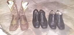 3 pares de sapatos e botina