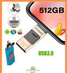 Pen Drive flash drive 512GB para celular pc USB 3.0 V8 lightning