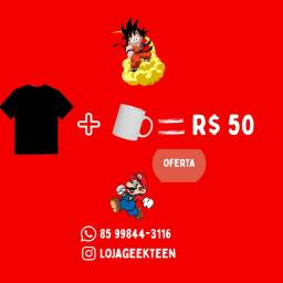 Camisas Geek mais canecas, diversos temas de vários personagens filmes séries animes