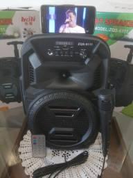 Caixa de som amplificada com microfone e rodinhas